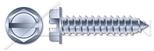 """#12 X 1-1/4"""" Self-Tapping Sheet Metal Screws, Type """"AB"""", Hex Indented Washer, Slotted, Steel, Zinc Plated"""