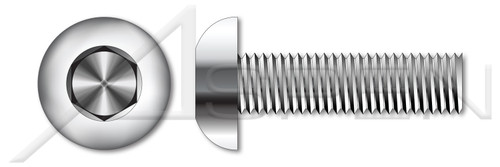 "#0-80 X 1/2"" Button Head Hex Socket Cap Screws, AISI 304 Stainless Steel (18-8)"