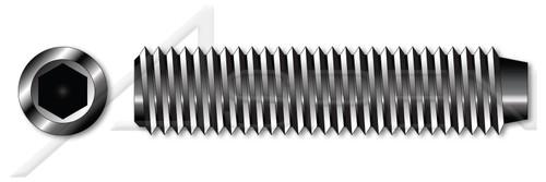 "#0-80 X 3/16"" Cup Point Socket Set Screws, Hex Drive, UNF Fine Threading, Alloy Steel"