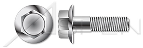 """3/8""""-16 X 1"""" Flange Bolts, Hex Indented Flange Head, AISI 304 Stainless Steel (18-8)"""