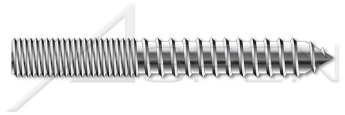 "3/8""-16 X 6"" Hanger Bolts, Full Thread, AISI 304 Stainless Steel (18-8)"