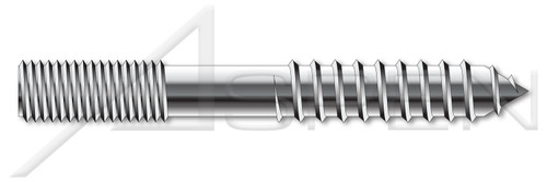 "1/4""-20 X 5"" Hanger Bolts with Plain Center, 18-8 Stainless Steel"