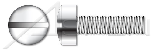 "#0-80 X 1"" Fillister Head Machine Screws with Slotted Drive, Stainless Steel 18-8"