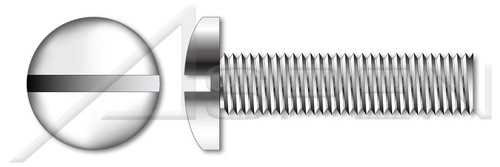 "#0-80 X 1"" Machine Screws, Pan Slot Drive, Full Thread, AISI 304 Stainless Steel (18-8)"
