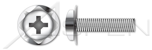 "#10-24 X 1/2"" SEMS Machine Screws with 410 Stainless Steel Square Cone Washer, Pan Head with Phillips Drive, 18-8 Stainless Steel"