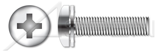 "#10-24 X 1"" SEMS Machine Screws with 410 Stainless Steel Internal Tooth Lock Washer, Pan Head with Phillips Drive, 18-8 Stainless Steel"