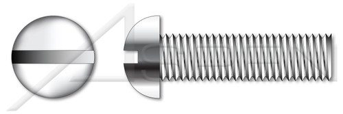 "#0-80 X 1"" Machine Screws, Round Slot Drive, Full Thread, AISI 304 Stainless Steel (18-8)"
