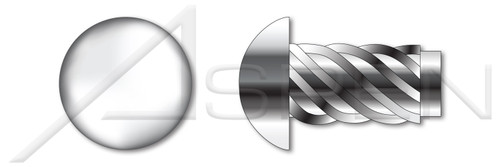 "#0 X 3/16"" U-Drive Hammer Screws, Round Head, AISI 304 Stainless Steel (18-8)"