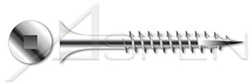 "#10 X 1-5/8"" Deck Screws, Bugle Square Drive, Type 17 Point, AISI 316 Stainless Steel"