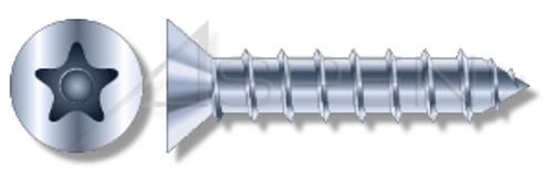 """3/16"""" X 1-1/4"""" Masonry Screws, Flat Countersunk Head Tamper-Resistant 5-Lobe """"Plus"""" Pin Drive, Steel, Zinc Plated"""