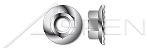 #10-24 Hex Flange Nuts with Locking Serrations, AISI 316 Stainless Steel