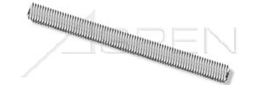 #12-24 X 3' Threaded Rods, Full Thread, AISI 304 Stainless Steel (18-8)