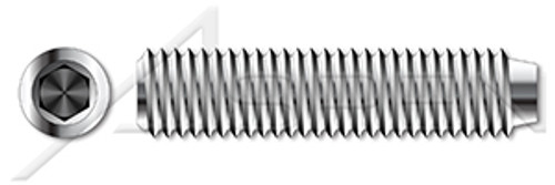 """#0-80 X 3/16"""" Cup Point Socket Set Screws, Hex Drive, Fully Threaded, 18-8 Stainless Steel"""
