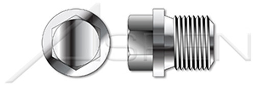 """1""""-11 DIN 910, Metric, Threaded Screw Pipe Plugs, Hex Drive, Straight Thread, A4 Stainless Steel"""