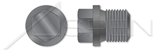"1""-11 DIN 910, Metric, Threaded Screw Pipe Plugs, Hex Drive, Straight Thread, Steel, Plain"
