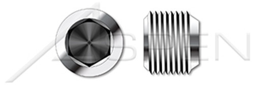 """1-1/2""""-11 DIN 906, Metric, Threaded Screw Pipe Plugs, Hex Socket Drive, Conical Tapered Thread, A2 Stainless Steel"""