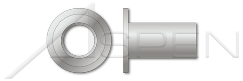 "#10-24, Grip=0.080""-0.130"" Blind Threaded Inserts, Large Flange, Flat Head, Open End, Aluminum, Aluminum Alloy 5056"