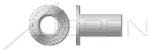 "#10-24, Grip=0.130""-0.180"" Blind Threaded Inserts, Large Flange, Flat Head, Open End, Aluminum, Aluminum Alloy 5056"