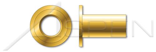 "#6-32, Grip=0.120""-0.160"" Blind Threaded Inserts, Large Flange, Flat Head, Open End, C1008-C1010 Steel, Steel, Yellow Zinc"