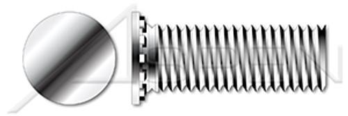 "#10-24 X 3/4"" Self-Clinching Studs, Flush Head Self-Clinching Studs, Full Thread, AISI 303 Stainless Steel (18-8)"
