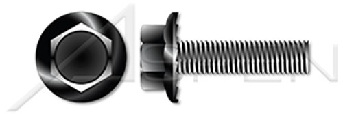 "#6-32 X 1/2"" Flange Screws, Hex Washer Head, Locking Serrations, Full Thread, Steel, Black Oxide"
