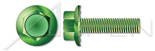 "#8-32 X 1/4"" Flange Screws, Hex Indented Washer Head, Locking Serrations, Full Thread, Steel, Green Zinc"