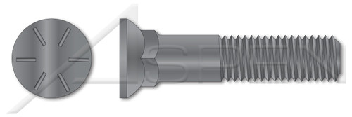 """3/4""""-10 X 6"""" Plow Bolts, Flat Head, #3 Head, Grade 8 Steel, Plain"""
