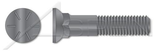 """5/8""""-11 X 1-1/2"""" Plow Bolts, Flat Head, #3 Head, Grade 8 Steel, Plain"""