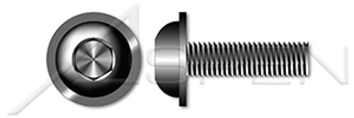 M6-1.0 X 20mm Button Head Cap Screws with Flange, Hex Socket, ISO 7380-2, Class 10.9 Steel, Plain