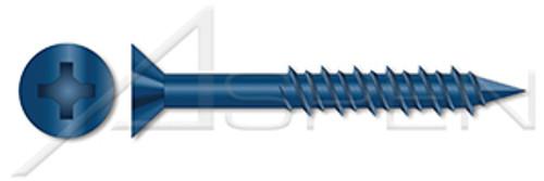 "3/16"" X 3-1/4"" Concrete Screws, Flat Phillips Drive, Blue Ceramic Coating"