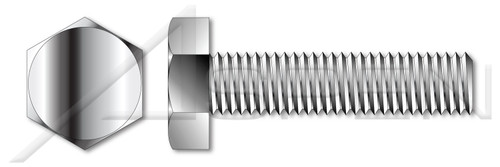"""7/8""""-9 X 5"""" Fully Threaded Hex Head Tap Bolts, Stainless Steel 18-8"""