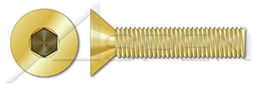 "#10-32 X 5/8"" Flat Countersunk Socket Cap Screws, Hex Drive, Brass"