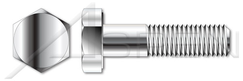 "#10-24 X 2-1/2"" Hex Head Cap Screws Bolts, AISI 304 Stainless Steel (18-8)"