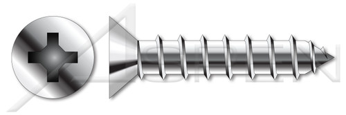 """#0 X 1/8"""" Type A Self Tapping Sheet Metal Screws, Flat Head with Phillips Drive, Stainless Steel 18-8"""