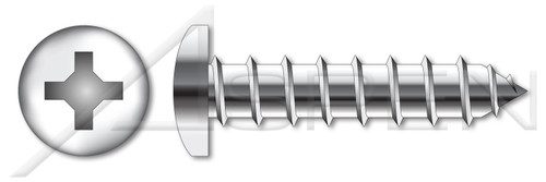 """#0 X 1/8"""" Self-Tapping Sheet Metal Screws, Type """"A"""", Pan Phillips Drive, AISI 304 Stainless Steel (18-8)"""