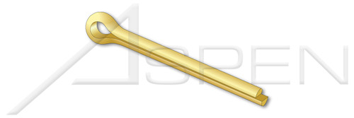 "9/64"" X 1"" Standard Cotter Pins, Extended Prong, Chisel Point, Brass"