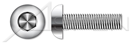 "#8-32 X 1"" Button Head Hex Socket Cap Screws, Full Thread, AISI 316 Stainless Steel"