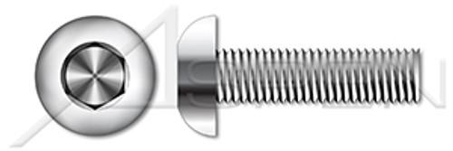 "#1-72 X 3/16"" Button Head Hex Socket Cap Screws, Full Thread, AISI 316 Stainless Steel"