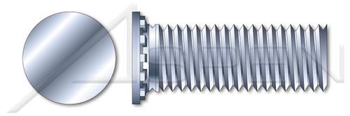 M6-1.0 X 15mm Self-Clinching Studs, Flush Head Self-Clinching Studs, Metric, Full Thread, Steel, Zinc Plated and Baked