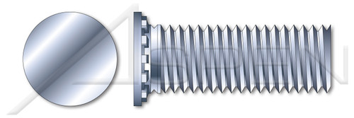 """3/8""""-16 X 1-1/2"""" Self-Clinching Studs, Flush Head Self-Clinching Studs, Full Thread, Steel, Zinc Plated and Baked"""