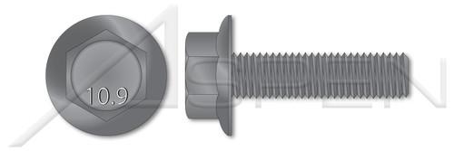 M10-1.5 X 40mm DIN 6921, Metric, Flange Bolts, Hex Indented Head, Part Thread, Class 10.9 Steel, Plain