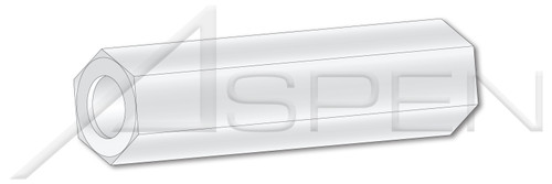 """0.115"""" X 7/8"""" Hex Spacers, 1/4"""" Across Flats, Type 6/6 Nylon"""