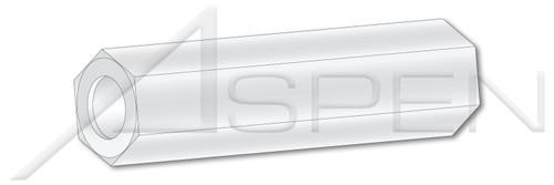 """0.115"""" X 9/16"""" Hex Spacers, 1/4"""" Across Flats, Type 6/6 Nylon"""