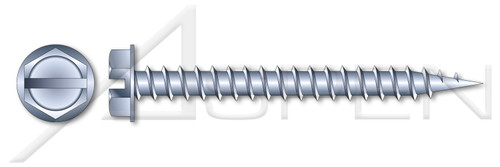 """#14-10 X 1"""" Needle Point Self Piercing Screws, Indented 3/8"""" Hex Washer Head with Slotted Drive, Zinc Plated Steel"""