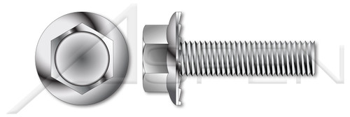 """1/4""""-20 X 2-1/2"""" Flange Screws, Hex Indented Washer Head, Serrated, Full Thread, AISI 304 Stainless Steel (18-8)"""
