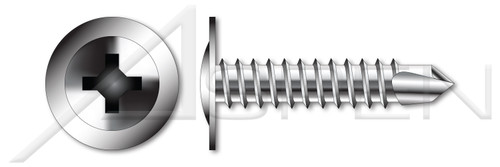 """1/4""""-14 X 1-1/4"""" Self-Drilling Screws, Modified Truss Phillips Drive, AISI 304 Stainless Steel (18-8)"""