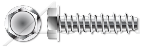 "#10-16 X 1"" Self Tapping Sheet Metal Screws with Hi-Lo Threading, Indented Hex Washer Head, 18-8 Stainless Steel"