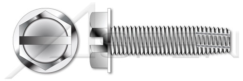 "#4-40 X 1/2"" Type F Thread Cutting Screws, Indented Hex Washer Head with Slotted Drive, 18-8 Stainless Steel"