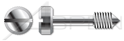 "#10-32 X 1-3/4"" Captive Panel Screws, Style 1, Knurled Head, Slotted Drive, Cone Point, Stainless Steel"