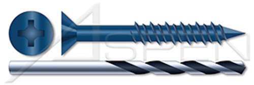 """1/4"""" X 2-1/4"""" Concrete Screws, Flat Phillips Drive, Blue Ceramic Coating, Drill Included"""